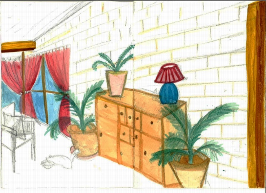 Drawing 1_Parallel perspective_room in colour 2