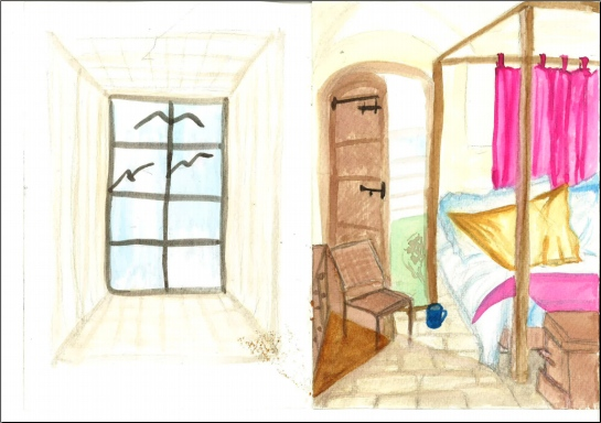 Drawing 1_Parallel perspective_room in colour