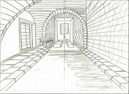 Drawing 1_Parallel perspective_room_pencil 2