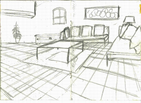Drawing 1_Parallel perspective_room_pencil