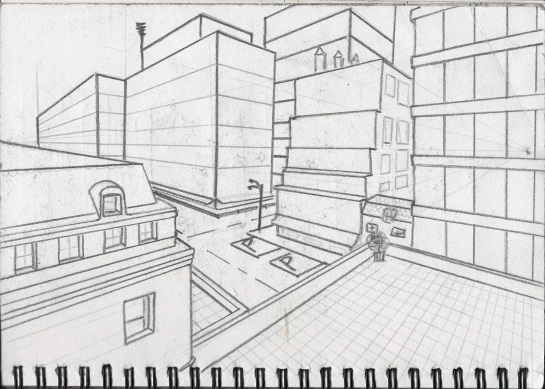 Drawing 1_Town scape_ Street