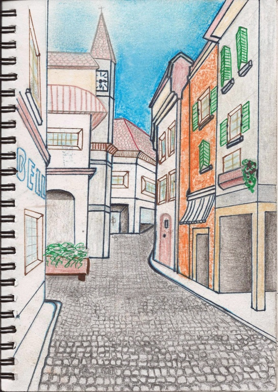 Drawing 1_Townscape_Morges in colour
