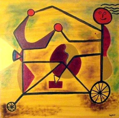 2001 Coll. naïve - Jeune fille au vélo huile sur carton 60x60