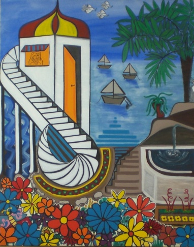 2002 Coll. Naïve - Le jardin de la princesse huile acryl 80x100