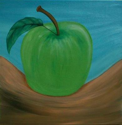 2002 Coll. naïve - Pomme verte huile sur toile 50x50