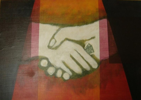 2004 Coll. naïve - Business agreement Acryl sur toile 40x50