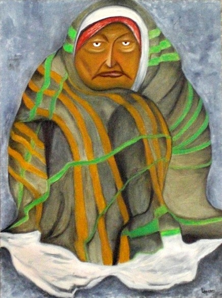 2005 Coll. Portraits - La Mendiante huile sur toile 60x80