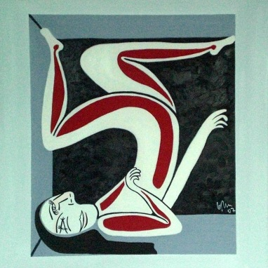 2007 Coll. Féminine -  Woman in a box huile sur toile 60x60