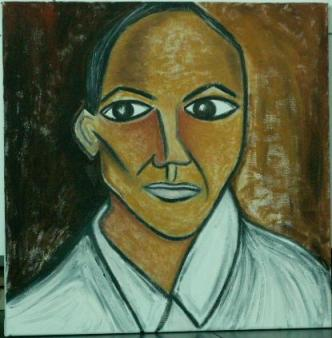 2007 Coll. Portraits - democrates'Obama through picasso eyes, huile sur toile 40 x 50