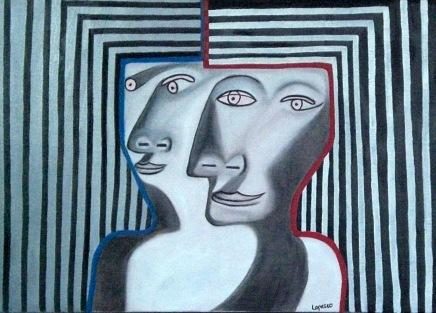 2007  Coll. Portraits - Twins huile sur toile 50x70
