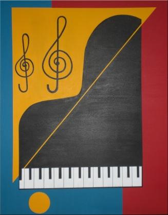 2009 Coll. naïve - Le Piano Acryl sur toile 70 x 80